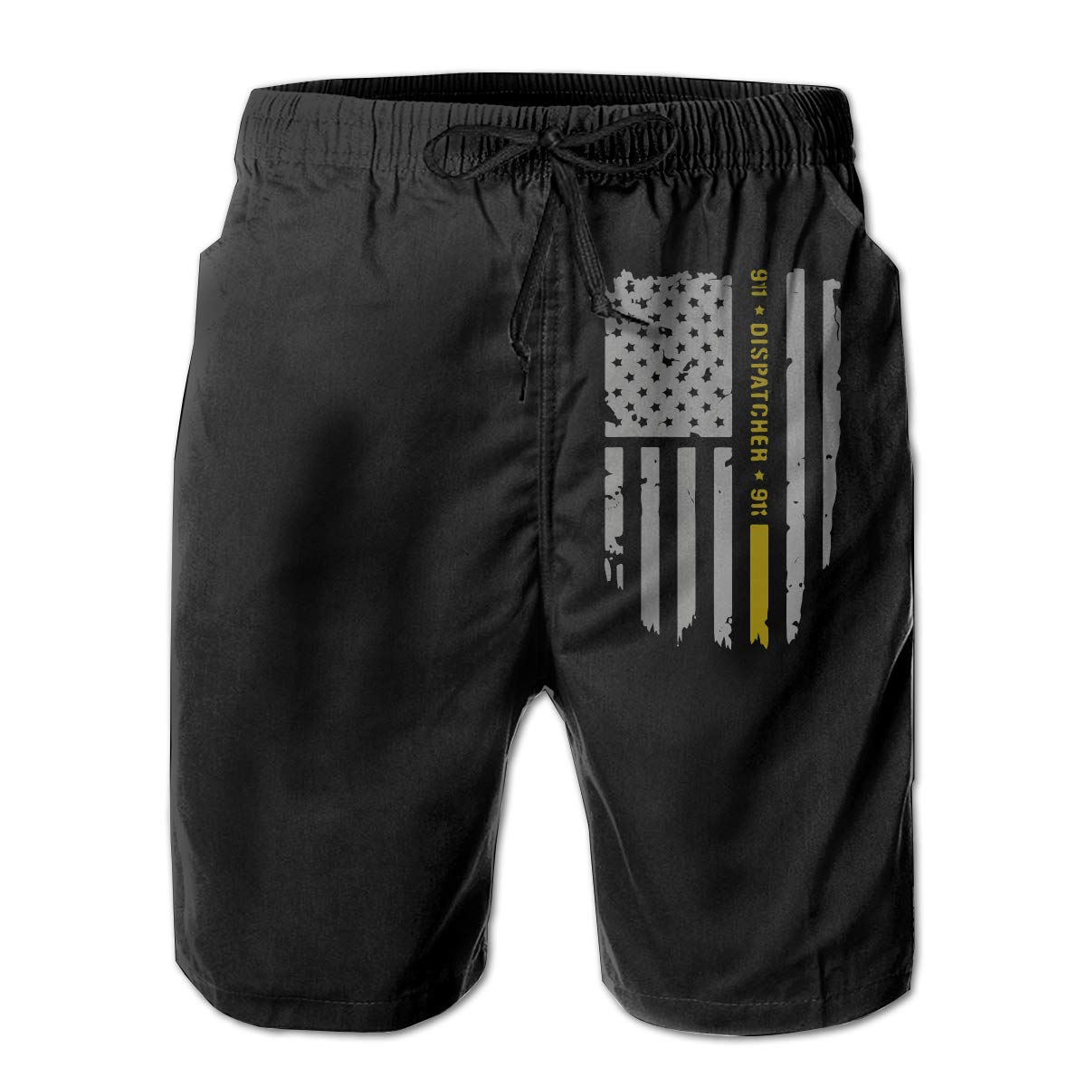 3D Printed Beach Shorts with Pockets Yt92Pl@00 Mens 100/% Polyester 911 Dispatcher Thin Gold Line Beachwear