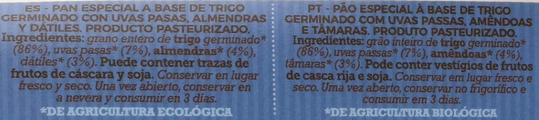 Pan Especial de Trigo Germinado con Uvas Pasas, Almendras y ...