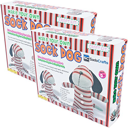 SadoCrafts 2 Pack – Sew Your Own Sock Doll Sewing Crafts Kit Recommended Toys for Kids Age 8-16 Year Old, Sew and Stuff, DOG