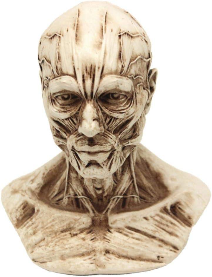 Decoraci Escultura Estatua Artesan P-Flame Estatua Escultura Pequeño Retrato8.5 * 10Cm Escultura De Resina De Calavera Decoración Decorativa Retro Decorativa Familia Cafe Bar, Gris