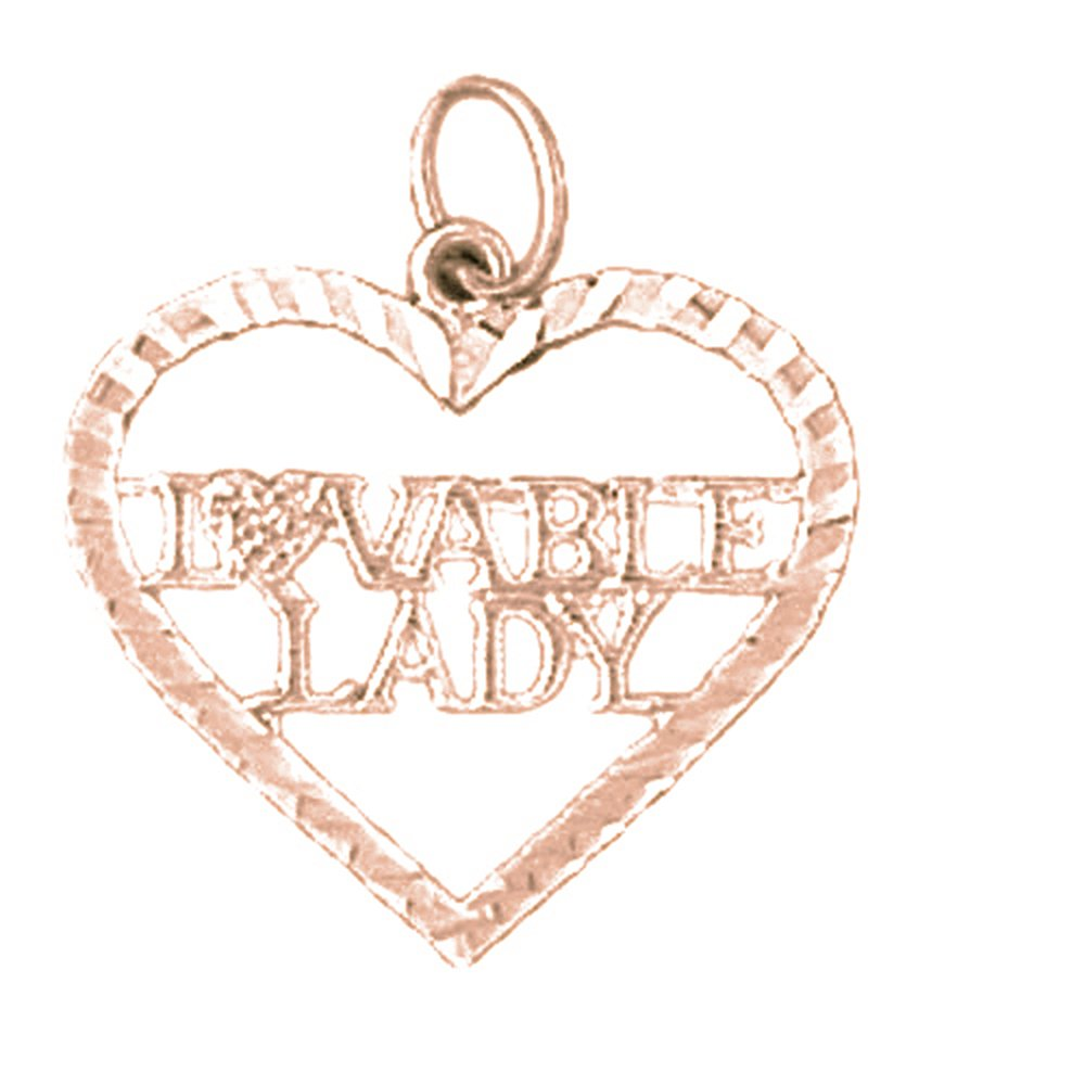14K Rose Gold-plated 925 Silver Loveable Lady Saying Pendant with 18 Necklace Jewels Obsession Saying Necklace
