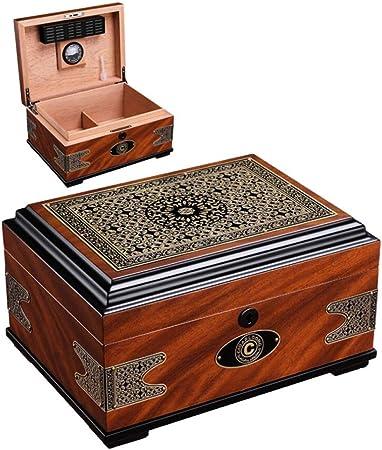 Humidor Caja De Puros Forro De Madera De Cedro Natural Caja De Cigarros con Humidificador E Higrómetro Embalado por Nice Gift Box: Amazon.es: Hogar