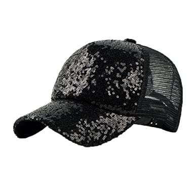 a8aaa7ce625 fangkuai-hat Adjustable Baseball Cap for Women Men Hip Hop Breathable  Sequins Trucker Hat