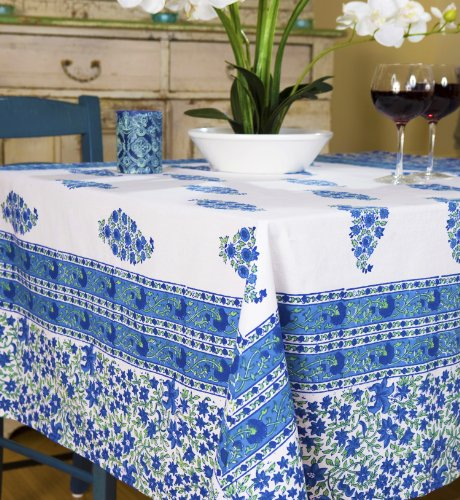 Attiser Handmade Tablecloth French Blue Country Designer Luxury Bohemian Hand Block Printed - Rectangle Large (104