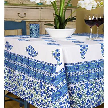 French Blue Country Designer Luxury Handmade Bohemian Hand Block Printed Tablecloth
