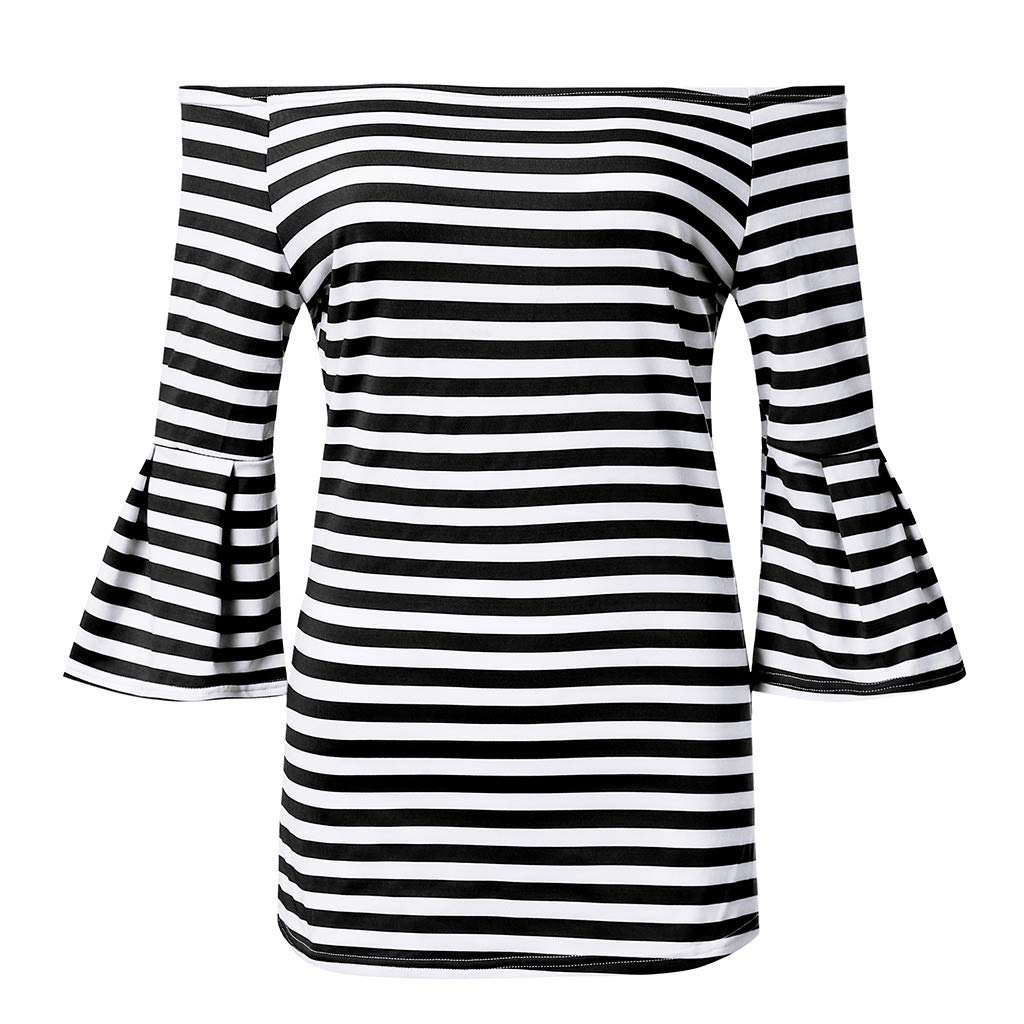 Wobuoke Fashion Women's Summer Off Shoulder Flared Sleeve Stripe T Shirt Top Blouse Black