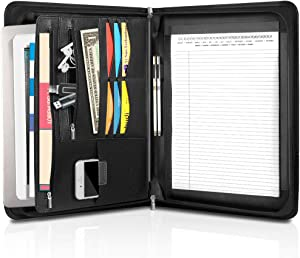 SIMBOOM Padfolio/Resume Portfolio Folder – PU Leather Interview/Legal Document Organizer with Sleeve Holder for 13.3 Inch MacBook Air/Pro, Tablet Sleeve Holder for Women Men - Black