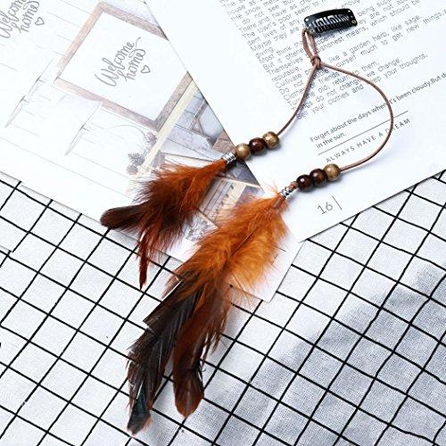 Jovono Womens Bohemia Feather Hair Clips with Bead Rhinestone for women and girl (Orange)