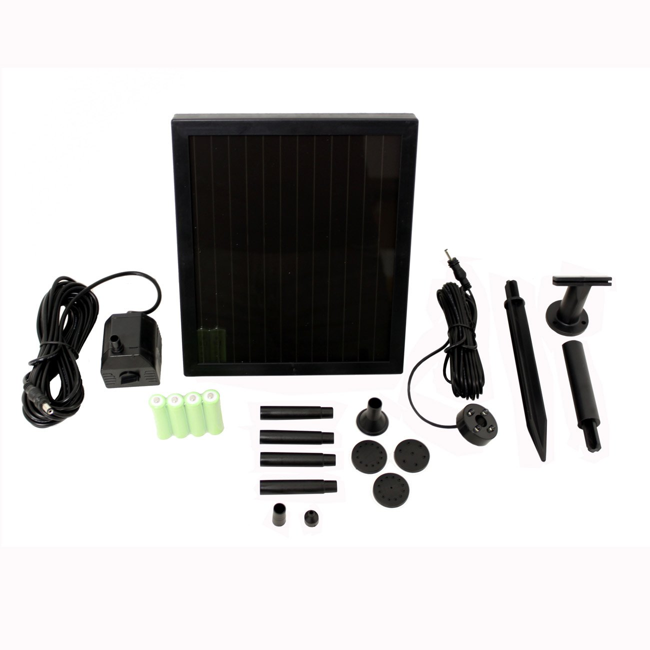 1.4w Watt Solar Water Pump Garden Pool Pond Kit System with Battery, LED Lights and Tubes