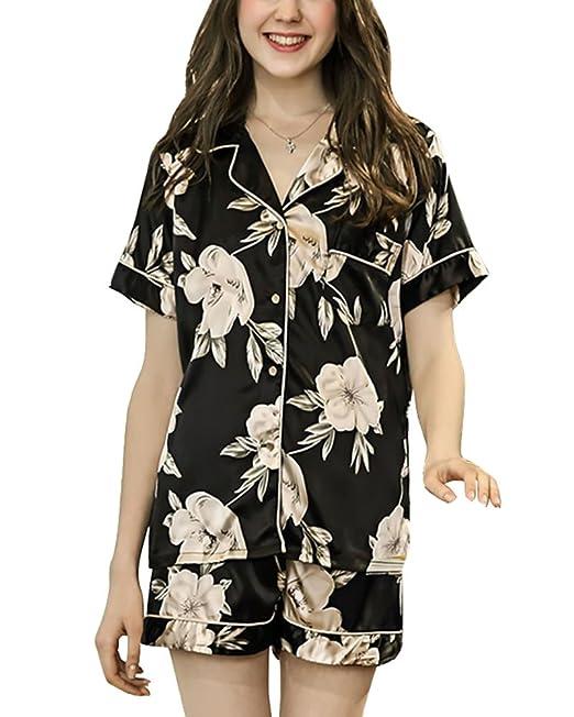Pijamas Verano Mujer Corto Manga Impreso Patrón para Ropa de Dormir, Suave Comodo y Agradable: Amazon.es: Ropa y accesorios