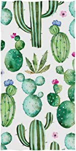 ZOEO Cactus Hand Towel Green Succulents Plants Floral Flower Dish Towels Cotton Face Towel Bath Decor Set for Girls 30x15 inch Gym Yoga Towels