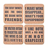 Kichwit Wine Themed Cork Coasters, 8mm Thick, Wine Gifts, Rounded Corner Square Coaster Set, Pack of 4
