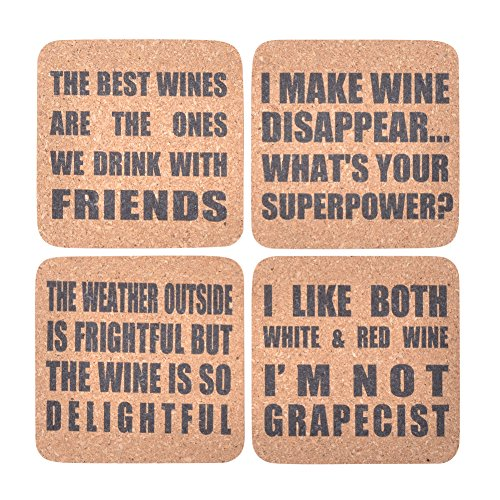 Kichwit Wine Themed Cork Coasters, 8mm Thick, Wine Gifts, Rounded Corner Square Coaster Set, Pack of 4 (Square Cork Coaster)