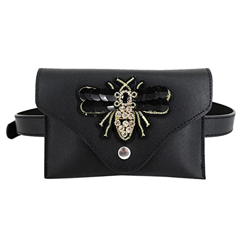 1226f94d80d Fashion Women GIrls Elegant Leather Waist Bag Exquisite 3D Bee Embroidery  Fanny Pack Cute Waist Pouch