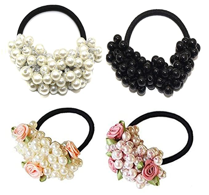 Women Fashion Scrunchie Ponytail Holder Faux Pearl Bead Hair Band Rope Decor LE