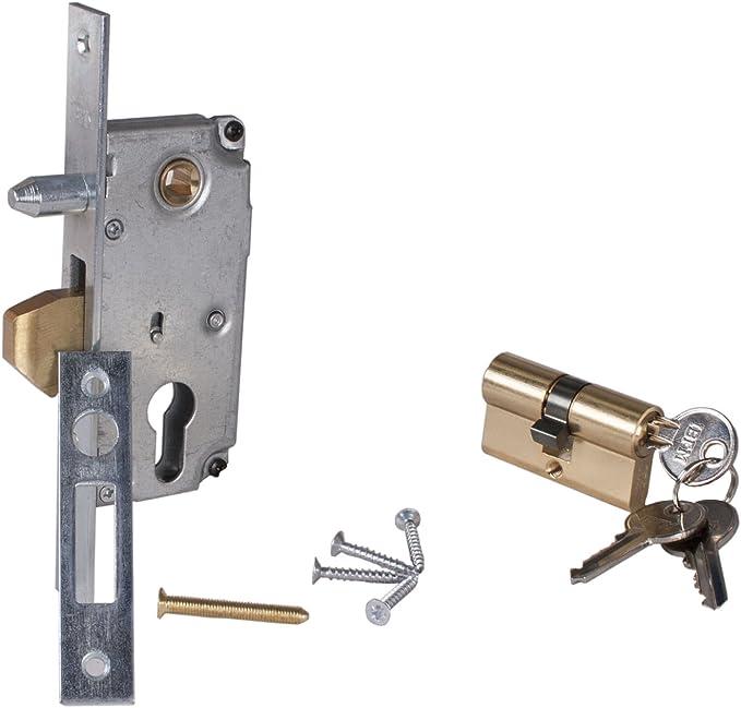 Cerradura Cerradura de gancho para puerta corredera con cilindro modelo pequeño: Amazon.es: Bricolaje y herramientas