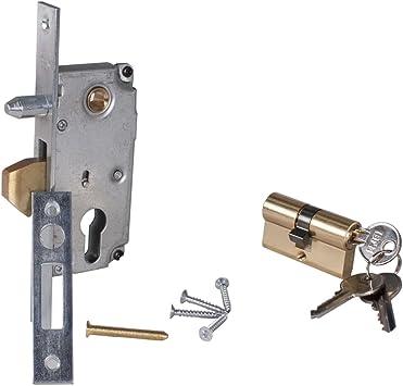 Pestillo de gancho para puerta corredera con cilindro y 3 llaves (Cilindro 30 mm: Amazon.es: Bricolaje y herramientas