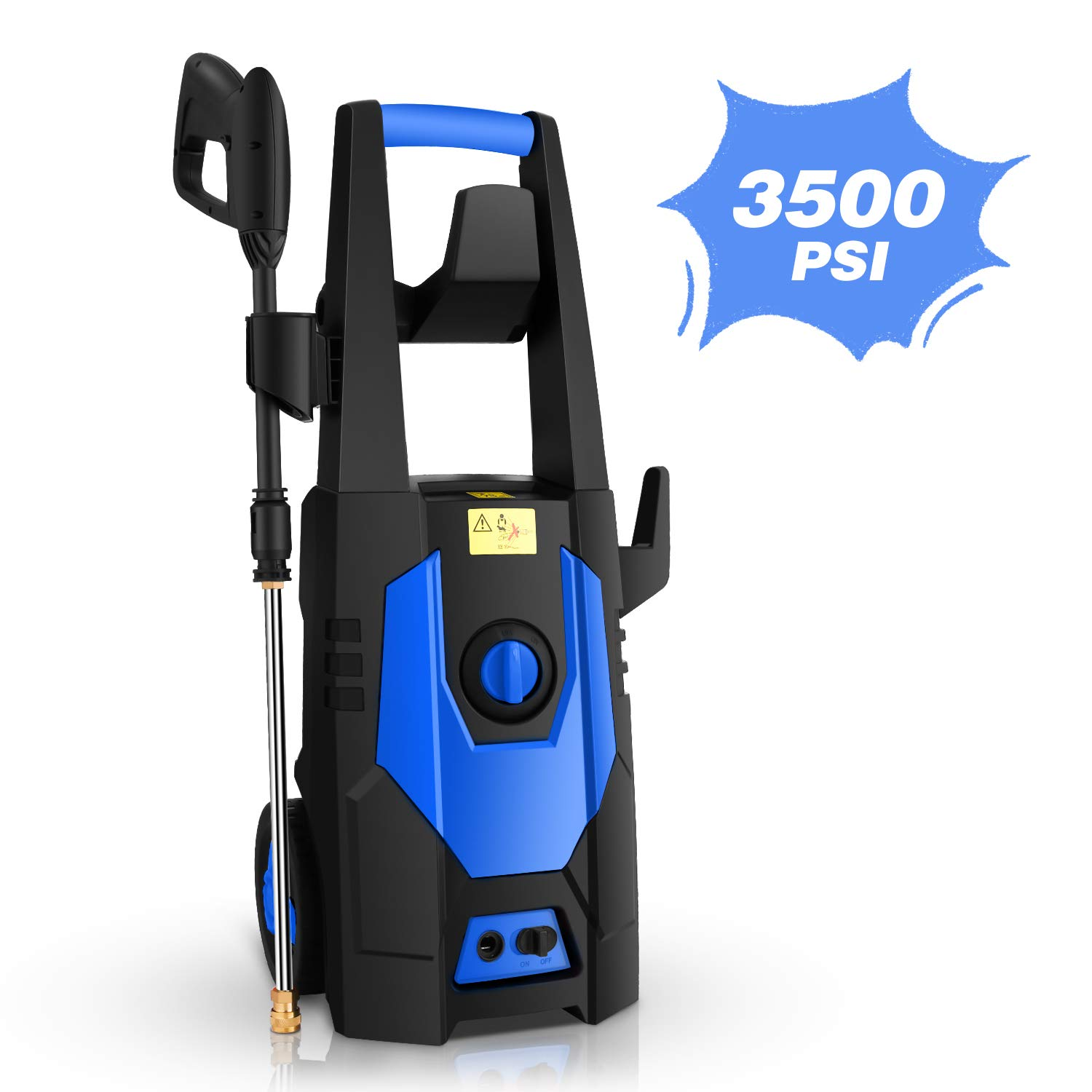 mrliance 3500PSI Electric Pressure Washer, 2.0GPM Electric Power Washer High Pressure Washer with Spray Gun, Brush, and 4 Quick-Connect Spray Tip (Blue) by mrliance