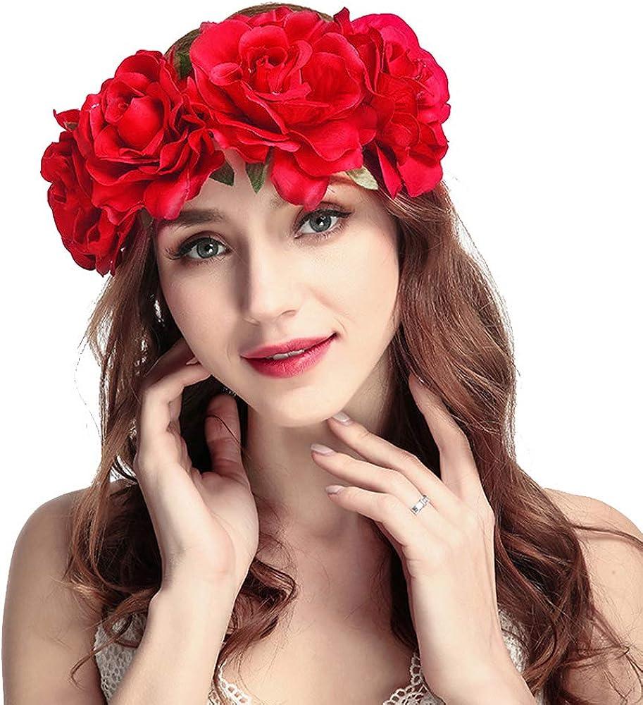 Women's Rose Floral Crown...