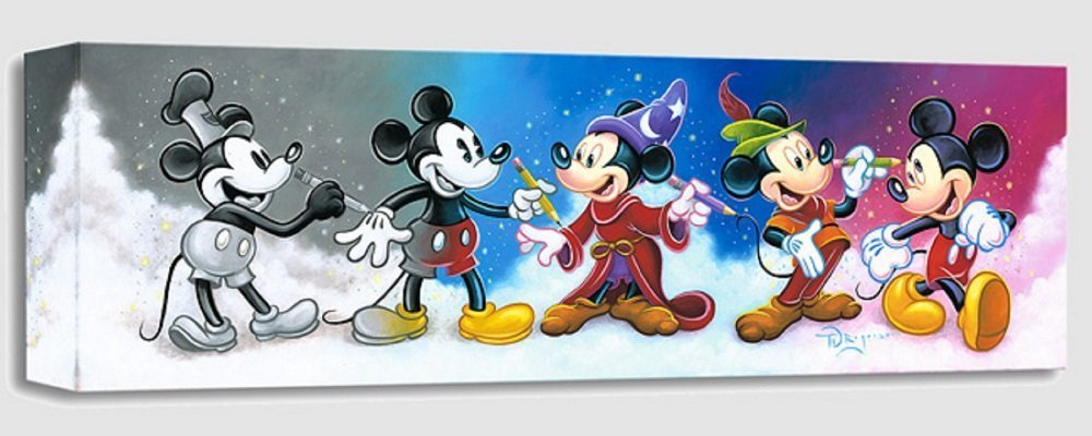Mickey's Creative Journey - Treasures on Canvas - Disney Mickey Mouse Gallery Wrapped Canvas Wall Art by Tim Rogerson by Disney Fine Art