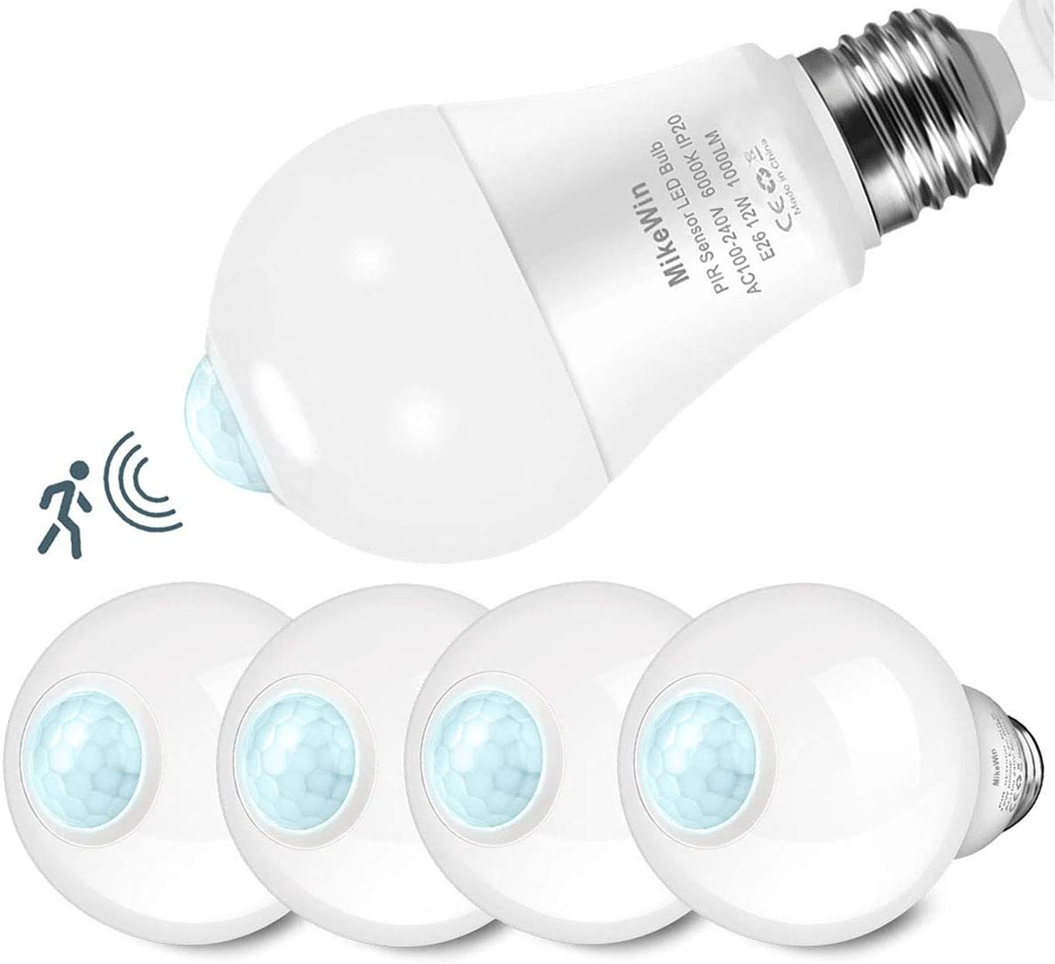 MikeWin Motion Sensor Light Bulbs Outdoor 4 Packs 12W(100W Equivalent) Security LED Bulb, Indoor E26, A19, 6000K Daylight Dusk to Dawn Bulb for Garage Front Door Porch Stairs Hallway