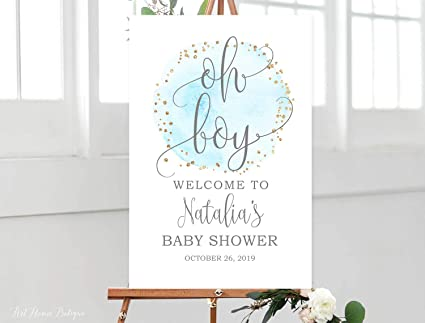 Amazoncom Mildred Rob Oh Boy Welcome Baby Shower Welcome Wood Sign