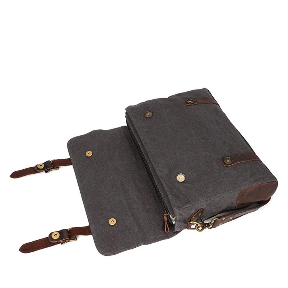 Y?Storlek? Mens Messenger Bag vattentät dator laptopväska 13 tum portfölj vintage retro vaxduk äkta läder stor skolväska axelväska college (färg: armégrön) Mörkgrått