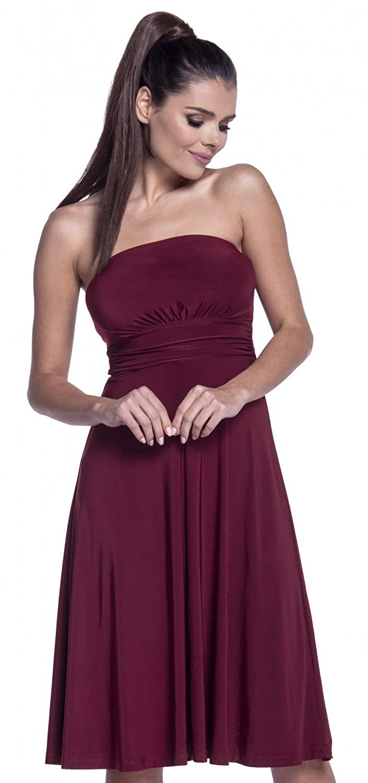 129z Zeta Ville Womens Boobtube Silky Dress Flared Bandeau Neck