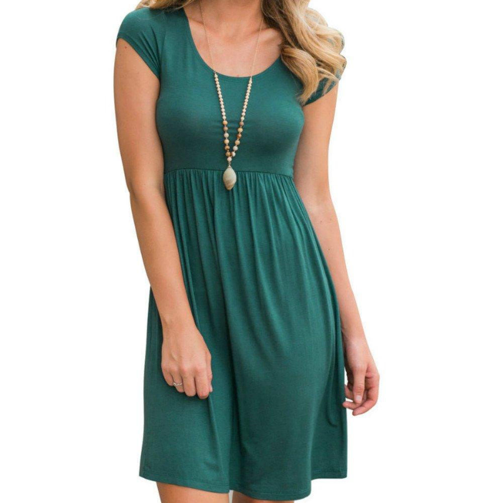 Primoda Women Casual Short Sleeve Waist Tunic TShirt Dresses(Green,XL)