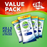 Dettol Antibacterial Surface Cleaning Wipes, 288 Wipes, Pack of 4 x 72