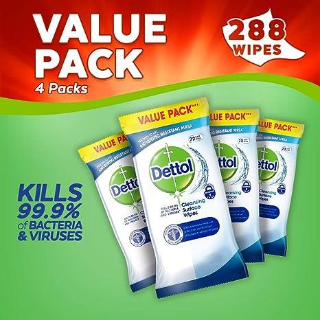 Dettol superficie toallitas limpiadoras, paquete de 4, 280-count