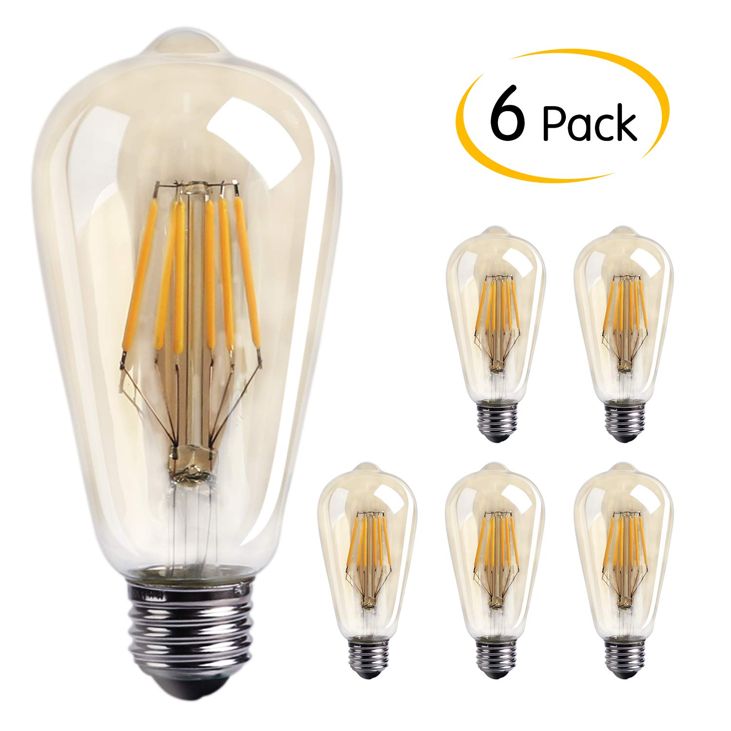 Brightown Edison LED Bulb 6 Pack, Natural White 4000K, 6-Watt Filament Light Bulb, 60 Watt Equivalent ST64 A19 LED Replacement Bulb for Reading Cage Pendant Lights Wall Sconces, Dimmable