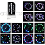 Rottay Bike Wheel Lights Waterproof RGB Ultra Bright Bicycle Wheel Lights Spoke Lights With 14-LED and 30pcs Changes Patterns -Safety Cool Bike Tire Accessories for Kids Adults