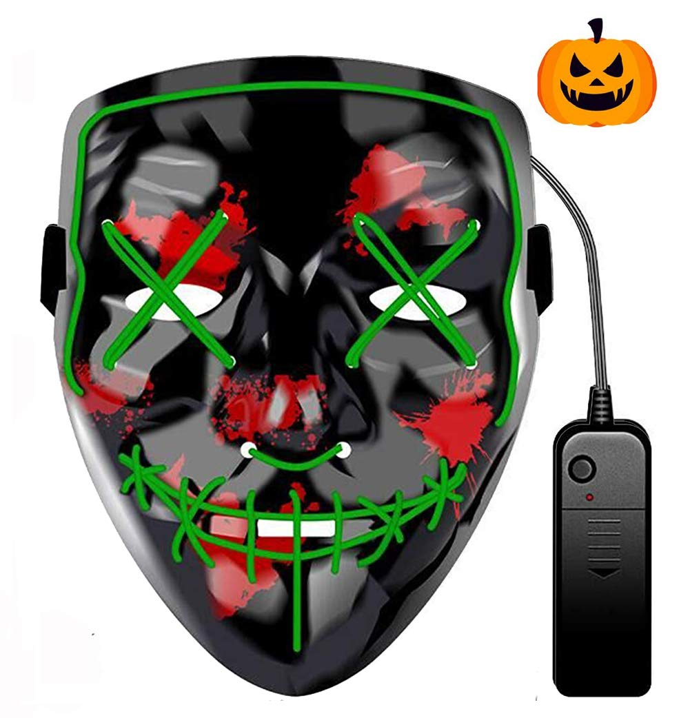 Purga Mascara Led Mask 3 Modos de Iluminacion para Halloween Navidad Cosplay Grimace Festival Fiesta Halloween Led M/áscaras