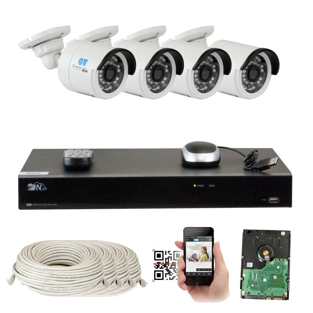 8 Channel H.265 4K NVR 4MP Home Surveillance Security Camera System with 4 x 4.0MP 1520p Weatherproof Day Night Bullet POE IP Cameras, Power over Ethernet (6TB HDD)