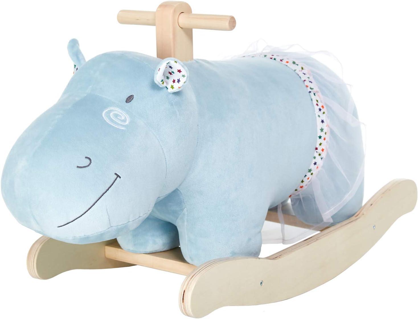 Caballito de Madera, Azul Hipopótamo Caballo balancin, Caballos de Juguete para Niños, Caballito de Madera/Caballo Juguete/Caballo balancin Madera/Balancines Infantiles/Caballo balancin Bebe
