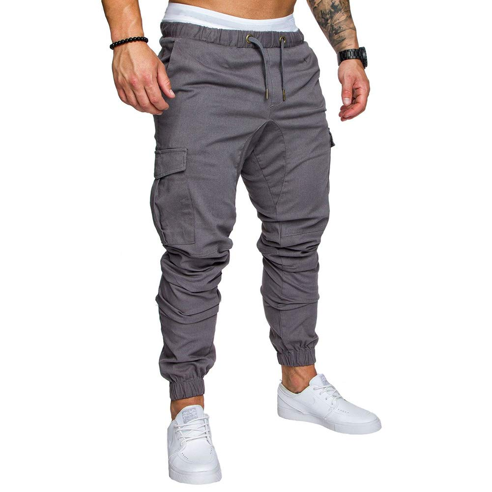Yiwa Men Stylish Casual Multi Pocket Long Trousers Sports Ankle Banded Pants Birthday Festival Gift