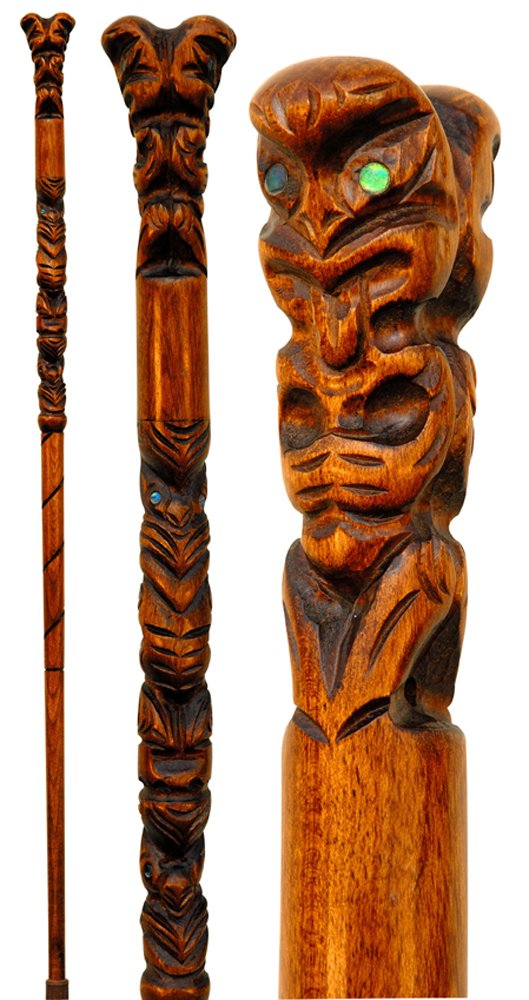 CARVED WOODEN HIKING POLE