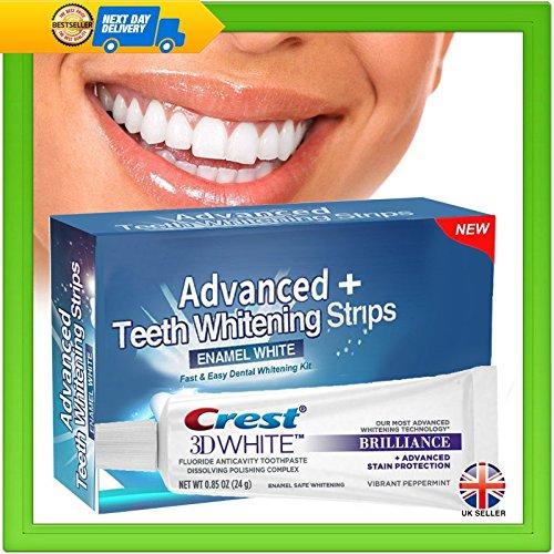 Crest 3D Brilliance Whitening Toothpaste & 28 Advanced Plus Teeth Strips...