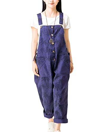 e784d2cbe8d5 Zoulee Women s Printed Bib Overalls Loose Jumpsuits Rompers Style 1 Blue