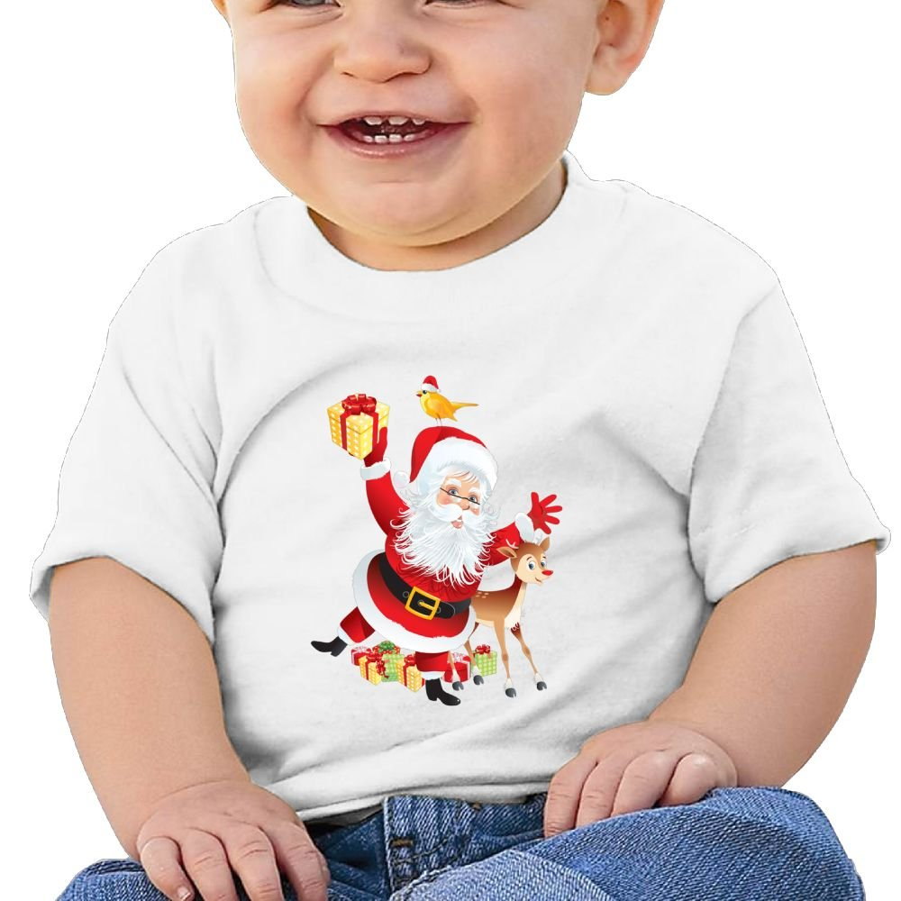 FFWWLHR Christmas Santa Claus Baby Short Sleeve Tees Unisex Cute Merry Christmas Cotton Baby Toddler T Shirt Tops