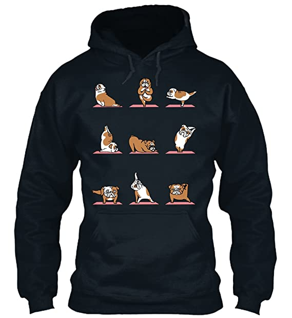 teespring Sudadera con Capucha Hombre - - English Bulldog Yoga Tshirt