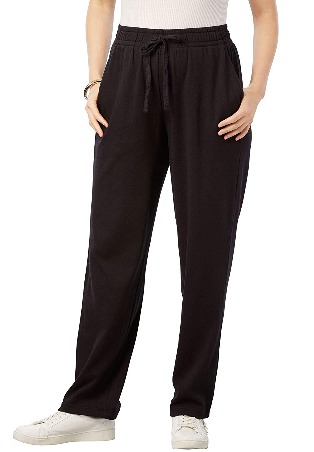 55b4b5798dd91 Roamans Women s Plus Size Petite Straight Leg Soft Knit Pant at Amazon  Women s Clothing store