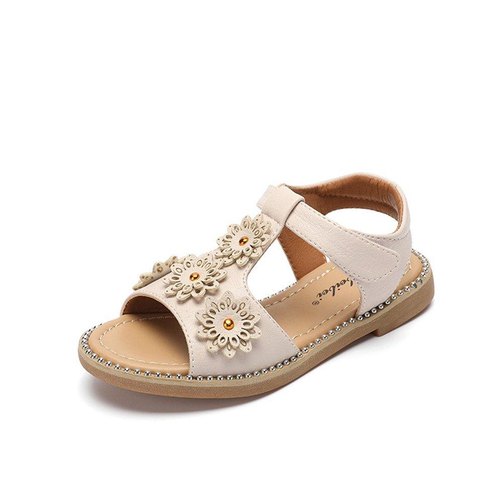 Always Pretty Little Girls Flat Sandals Summer Open Toe Leather Sandals(Toddler/Little Kid/Big Kid) Beige 11.5 M US Little Kid