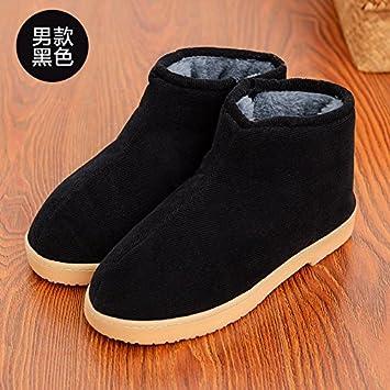 DogHaccd Zapatillas,La anciana pareja zapatillas de algodón de invierno paquete con los viejos zapatos gruesos hogar cálido interior femenina abuela ...