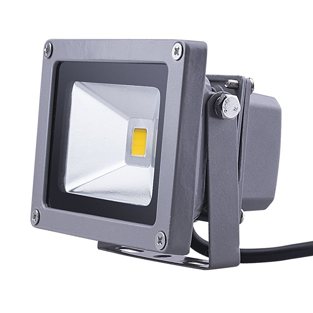 (Promotions) Comwinn Outdoor LED Flood Light, 10W Warm White 3200K Waterproof Security Lights with US 3-Plug for Garden,Scenic Spot,Hotel (WARM WHITE)