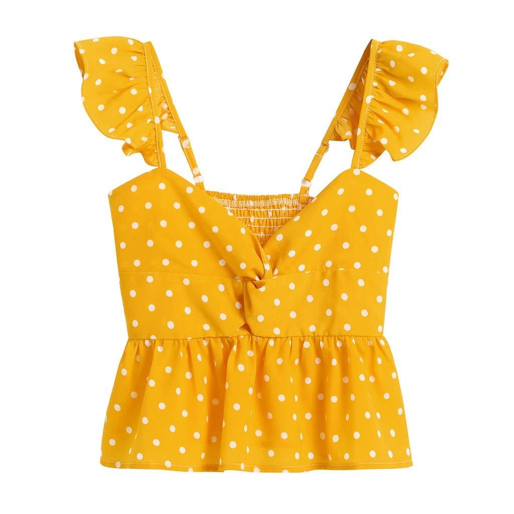 NUWFOR Women Floral Frill Trim Polka Dot Top Sleeveless T Shirts Casual Chiffon Tank (Yellow,S US Bust:22.8-33.8'')