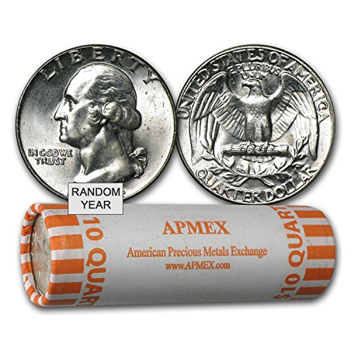 1932 - 1964 90% Silver Washington Quarters 40-Coin Roll BU Quarter Brilliant Uncirculated (Bu Washington Quarter Roll)