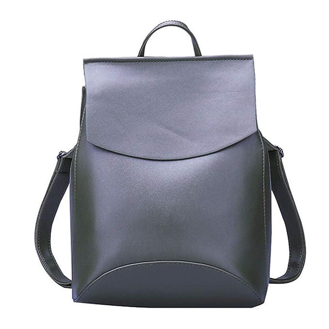 Las mujeres de la moda Mochila mochilas de cuero juvenil para adolescentes niñas bolso de hombro de la escuela Bagpack Army Green: Amazon.es: Ropa y ...