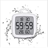Digital Shower Clock with Timer, Waterproof Bathroom Clocks, Indoor Temperature and Humidity Monitor Gauge, Digital…